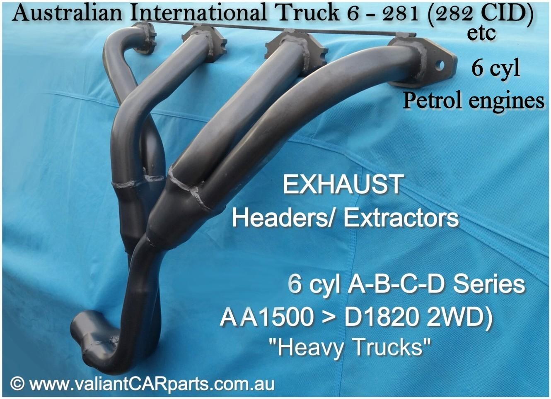 International Truck Parts Engine Diagrams Australian Ih 6 281 282 Exhaust Headers Extractors Petrol Aa Ab C D Line