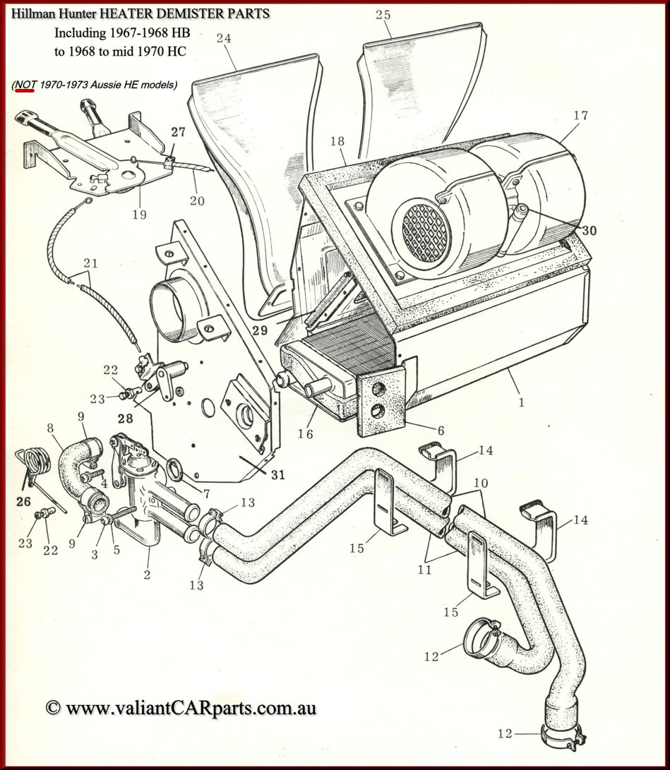 australian hillman hunter parts Sunbeam Tiger Speedometer 1967 to early 1970 item no 8 shown in our hb hc heater diagram on this page